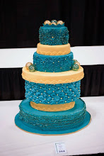 Photo: teal and gold wedding cake by farnazmom3 (4/10/2012) View cake details here: http://cakesdecor.com/cakes/11497