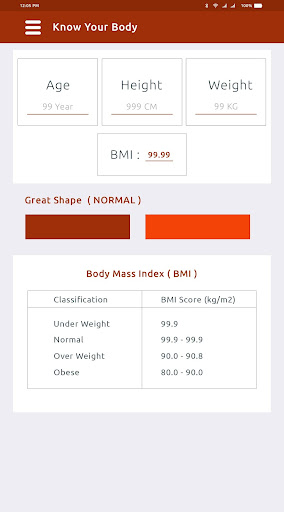 Screenshots des Body Mass Index Calculator 2