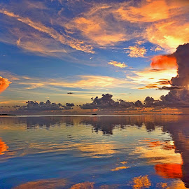 Sunset in the Florida Keys by Inge Hawkins - Landscapes Sunsets & Sunrises ( #water, #clouds, #sunset, #reflections, #nature,  )