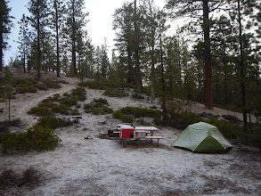 Photo: We woke up to a light snow blanket at our camp.