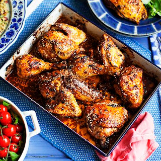 Oven-roasted Chicken With Sumac, Pomegranate Molasses, Chilli And Sesame Seeds.