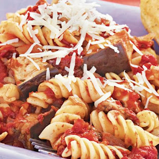 Slow-Cooker Eggplant and Tomato Sauce with Pasta.