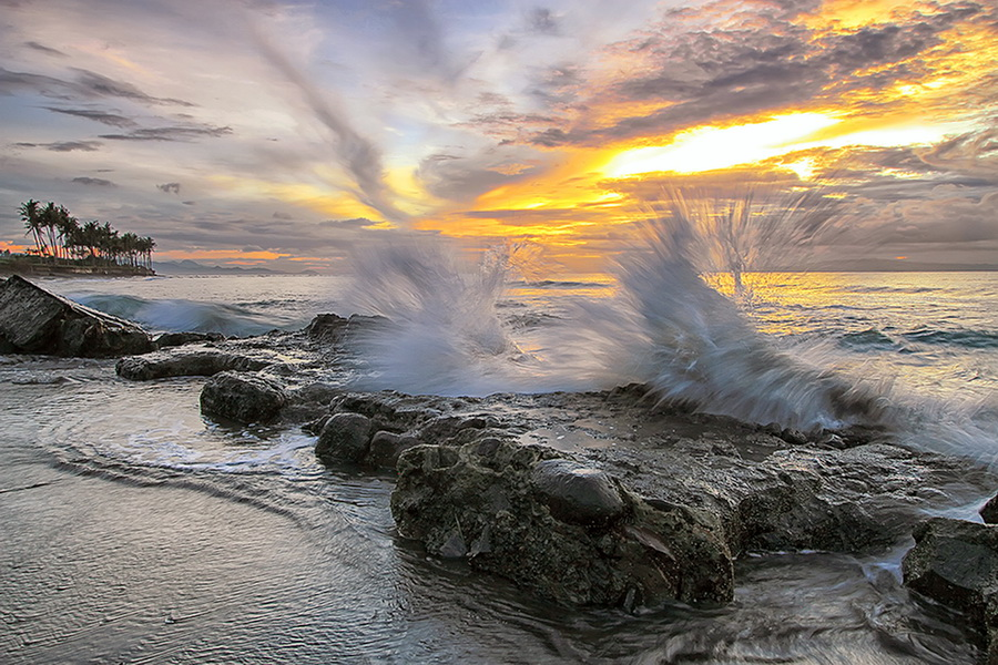 Manyar Sway by Agoes Antara - Landscapes Waterscapes ( bali, waterscape, sunset, lanscape, wave, cloud, stone, rock, beach, sunrise, motion )