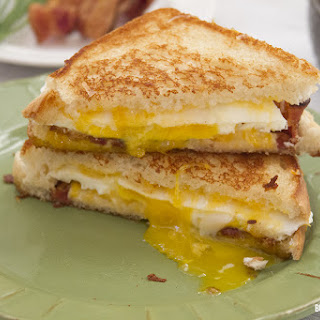Egg Grilled Cheese Sandwich with Bacon and Chives.