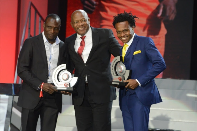 PSL Top Goalscorers Rodney Ramagalela and Percy Tau with Bobby Malabie of ABSA during the Premier Soccer League 2017/2018 Awards evening at Sandton Convention Centre on May 29, 2018 in Johannesburg, South Africa.