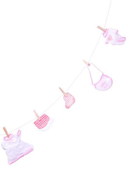 Babyshower girlang tvättlina, rosa