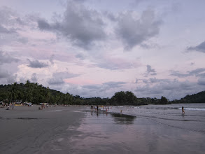 Photo: Vanessa  goes for a swim at sunset, Playa Espadilla Norte
