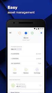 Waves Cartera, bolsa de cripto Screenshot