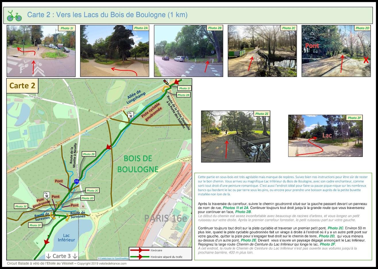 Carte 2 - Balade à vélo de Paris Etoile au Vésinet, la Seine des Impressionnistes par veloiledefrance.com