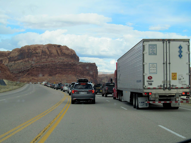 Waiting in line to get into Moab!