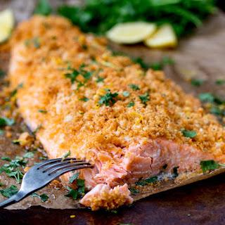 Garlic Bread Crusted Salmon.