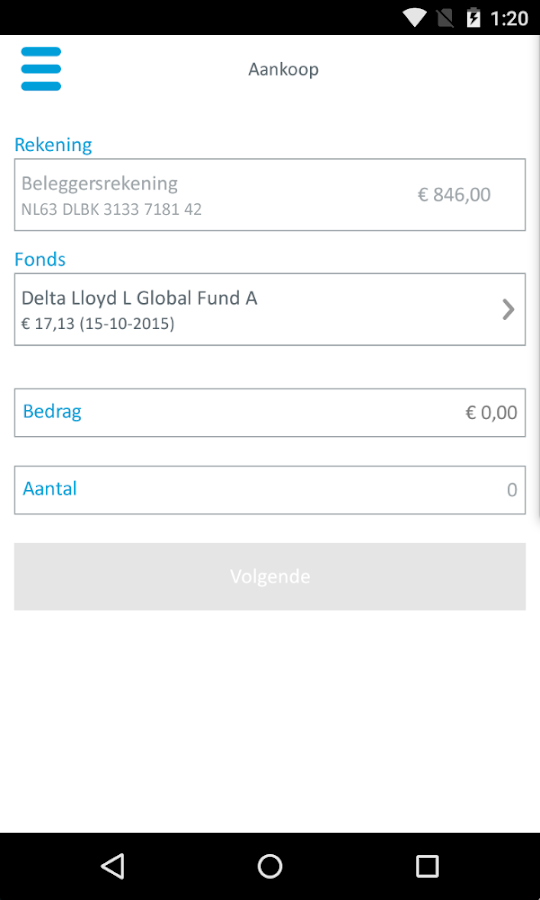 Delta Lloyd Bank- screenshot
