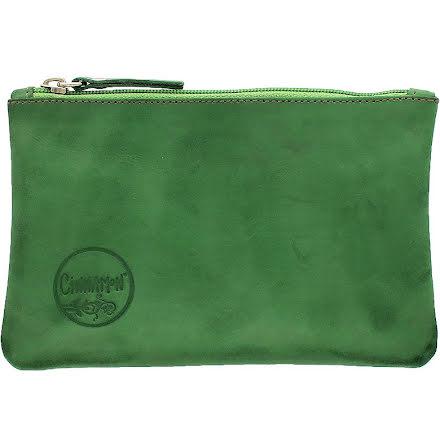 Mini väska örtgrön i skinn med kreditkortsficka