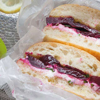 Roasted Beet Sandwiches With Chive Ricotta Cheese.