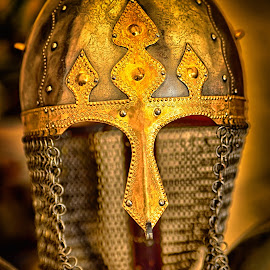 Heavy Dury Protection by Marco Bertamé - Artistic Objects Other Objects ( middle ages, metal, helmet, medieval, golden, heavy duty )