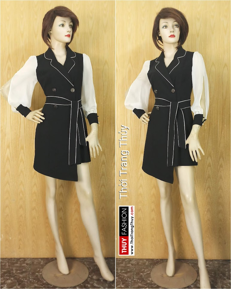 Váy xòe cổ vest nữ tay bồng xẻ quyến rũ V641 thời trang thủy