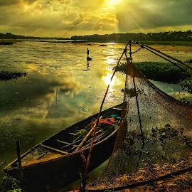 Golden hour  by Koushik Adhikary - Transportation Boats ( #landscape #boat #light #work #sunset )