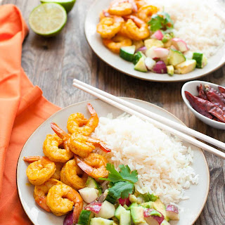 Burmese Chile Prawns with Cucumber and Avocado Salad