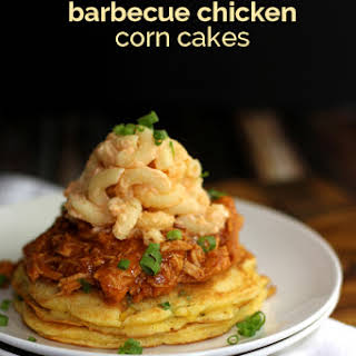 Mac and Cheese Barbecue Chicken Corn Cakes.
