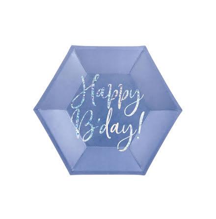 Assietter - Happy birthday, blå
