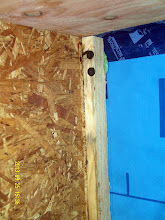 Photo: For the sake of the air barrier: TJI flange holes are pre-drilled, behind the DB+ the cedar sheathing has been caulked w/ R-Guard, there's Tescon Vana @ the penetration point, as well as a gob of Contega caulk (seen here squeezing out) ...