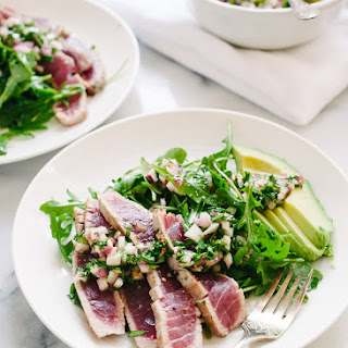 Seared Ahi Tuna with Chimichurri Sauce, Arugula and Avocado Recipe