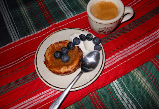 Photo: Egg tart with cream & berries, Espresso on the side