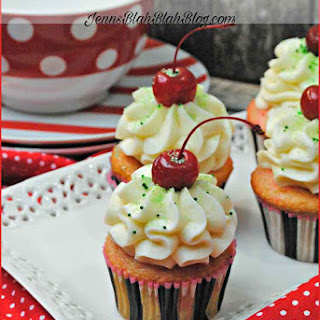 Shirley Temple Cupcakes with Lime Frosting