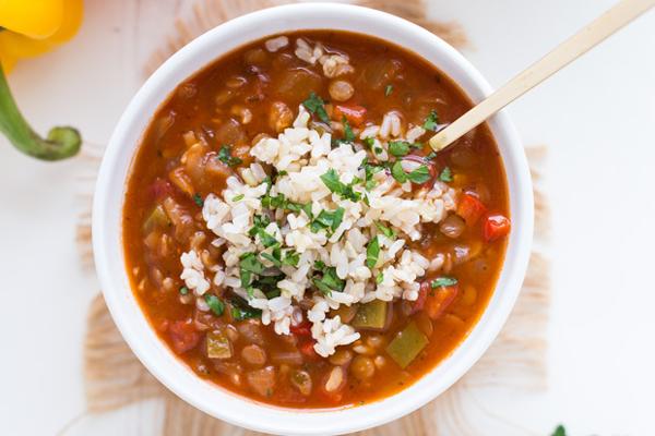 Lentil Stuffed Pepper Soup