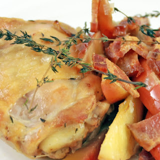 Roasted Chicken Thighs with Bacon and Apples