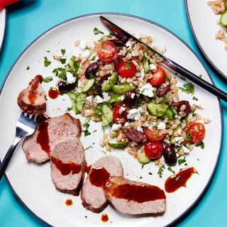 Spice-Rubbed Pork Tenderloin with a Mediterranean Grain Salad Recipe | Epicurious.Com Recipe