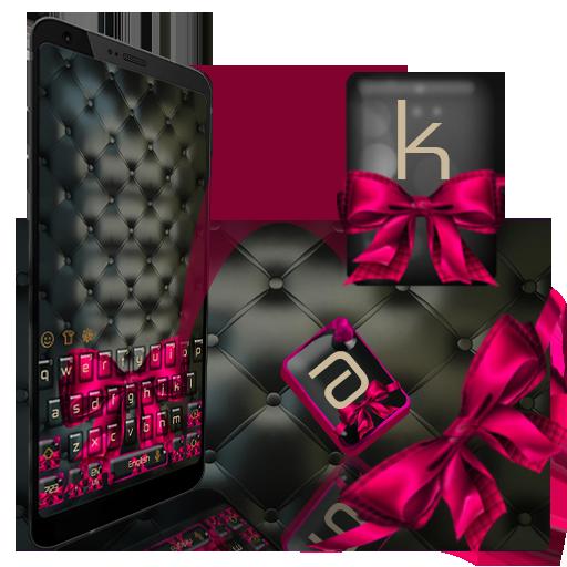 Black Pink Bow Keyboard Theme