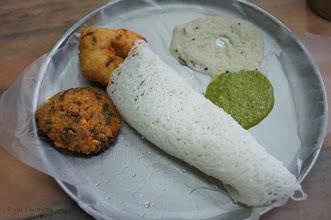 Photo: Breakfast Wadi Medu Vada String Hoppers and Sambar       Pondicherry India