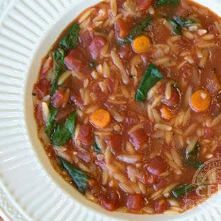 Italian Orzo Spinach Tomato Soup.