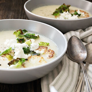 Cauliflower and Potato Soup with Goat Cheese.