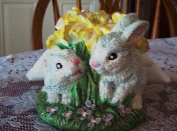"""Notice the  """"Rabbit Napkin Holder"""" in the picture ? I painted her 10 yrs ago..."""