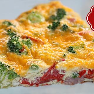 Cheesy Broccoli Ham and Pepper Frittata