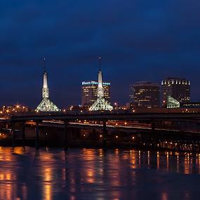 Blue Portland by Craig Pifer - City,  Street & Park  Skylines ( water, oregon, skyline, portland, night, pdx, city, pwcskylines )