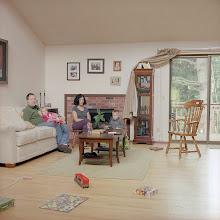Photo: title:Julian, Robin, Stella + Felix Haight, Lake Forest Park, Washington date: 2013 relationship: family, uncle years known: Julian 35-40, Robin 5-10
