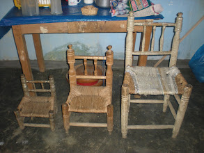 Photo: 3 different sized chairs, all built by carpenters in our town.