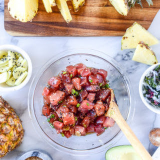 Ahi Poke Bowls with Pineapple and Avocado.