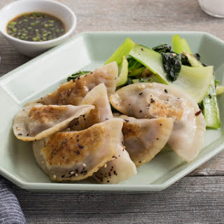Shrimp & Shiitake Dumplings with Sautéed Bok Choy & Soy Dipping Sauce.