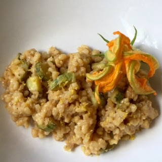 Brown Rice Risotto with Saffron and Zucchini