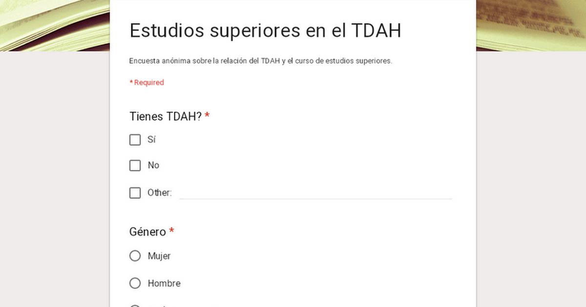 Estudios superiores en el TDAH