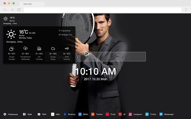 Novak Djokovic HD Tennis New Tabs Theme