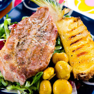 Grilled Ham Steak with Pineapple.