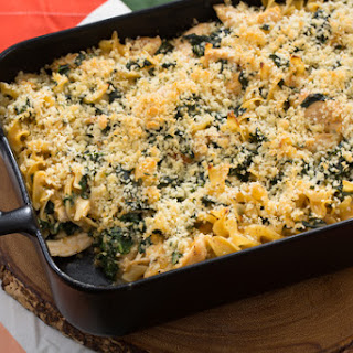 Chicken & Kale Casserole with Cheddar Sauce & Parmesan-Thyme Breadcrumbs