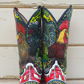 Cock of the walk cowboy boots by Colleen Flynn - Artistic Objects Clothing & Accessories ( cowboy boots, cocolaroo916, rooster, cock of the walk,  )