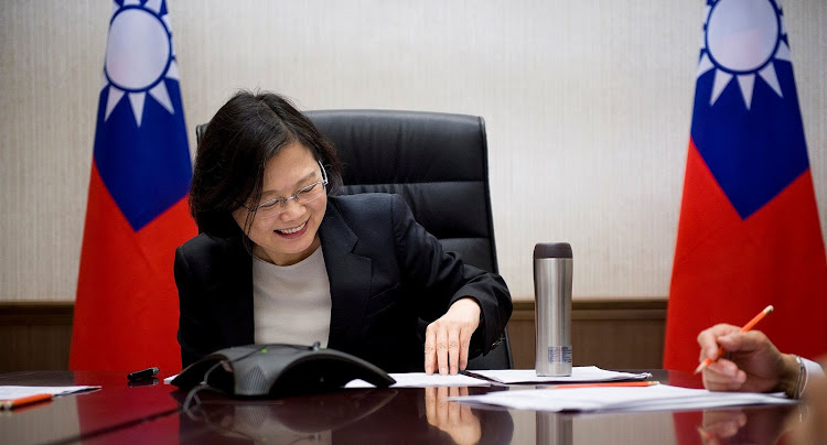 Taiwan's President Tsai Ing-wen speaks on the phone with US president-elect Donald Trump at her office in Taipei, Taiwan.   Picture: REUTERS