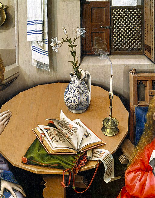 Lily on table in The Annunciation Triptych (Merode Altarpiece)